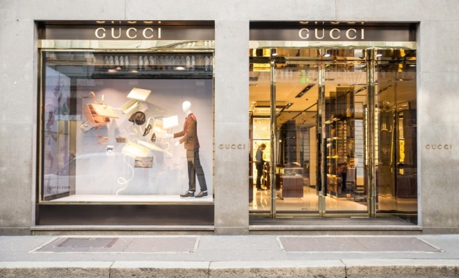 MILAN,ITALY - DECEMBER 30, 2014 : Gucci boutique in Monte Napoleone ave,Milan.Gucci is a world famous fashion brand.