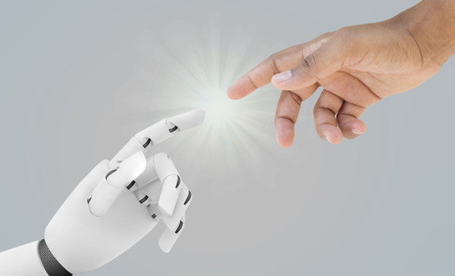 Human and robot hands reaching - Artificial Intelligence